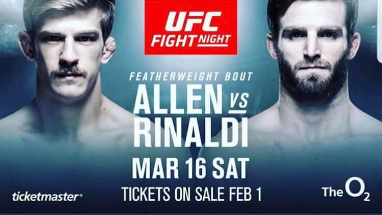 Arnold Allen to face Jordan Rinaldi at UFC London